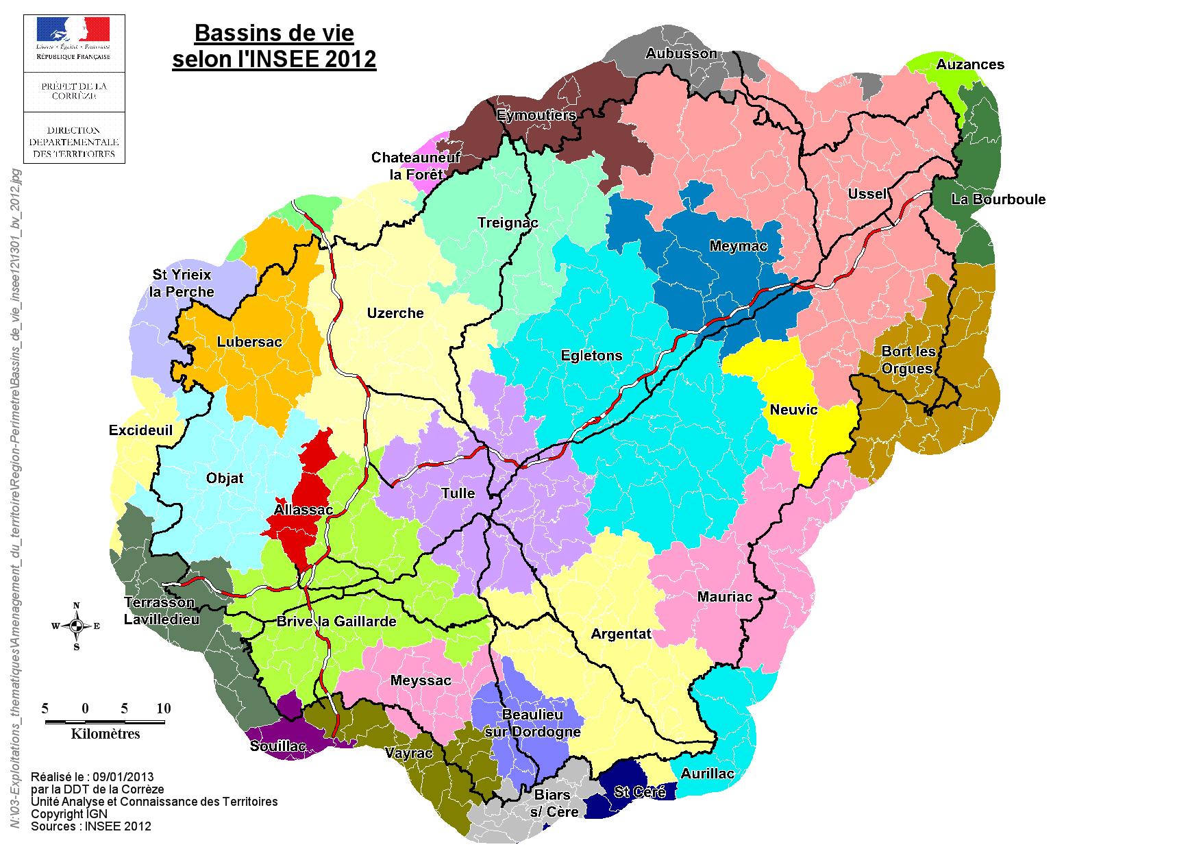 Très Cartes des bassins de vie et zonages de l'INSEE / Aménagement du  QW35